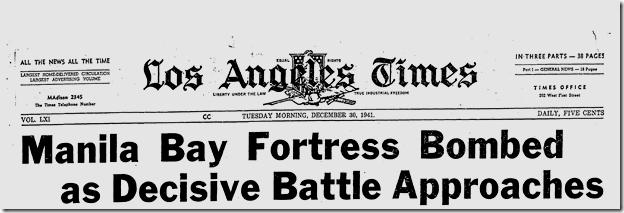 Dec. 30, 1941, Manila Bay Fortress Bombed