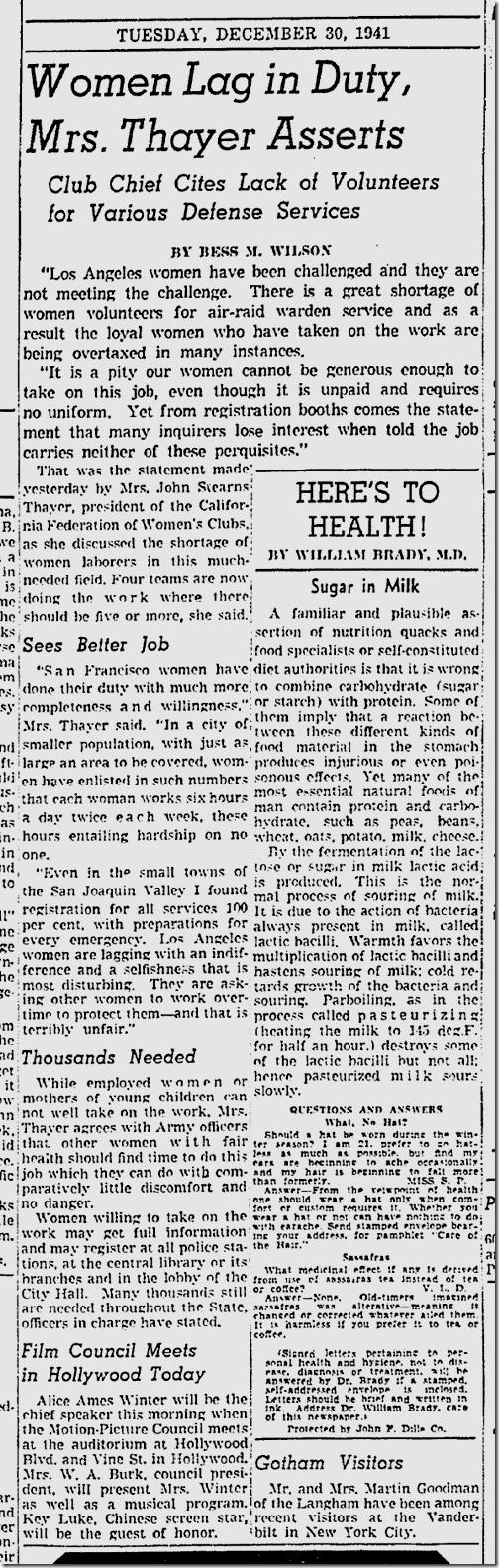 Dec. 30, 1941, War Slackers