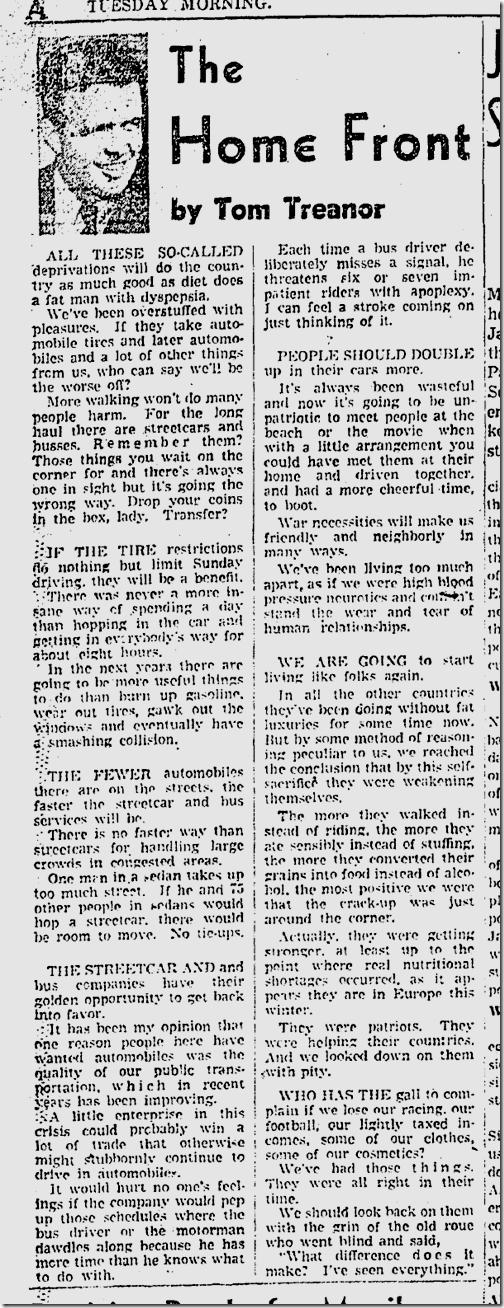 Dec. 30, 1941, Tom Treanor