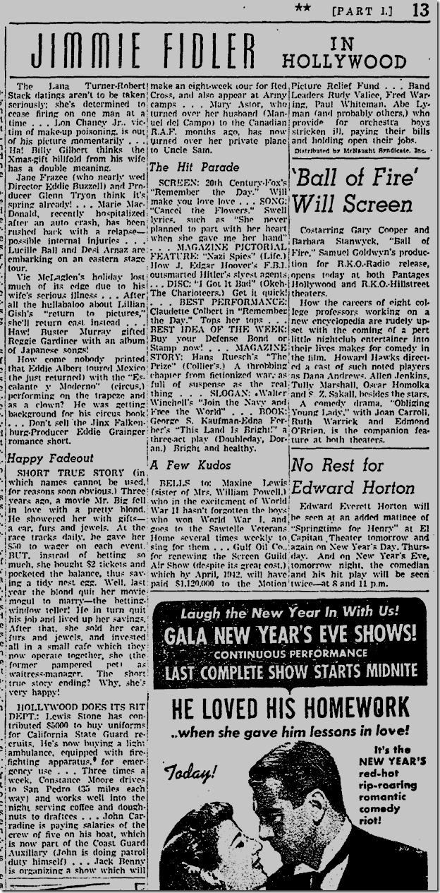 Jimmie Fidler, Dec. 30, 1941