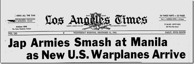 Dec. 31, 1941, Armies Smash Manila