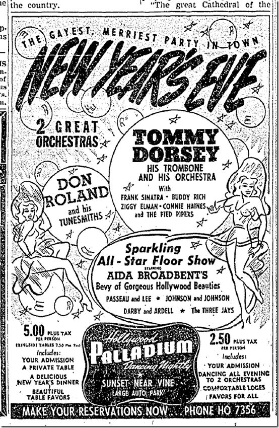 Dec. 31, 1941, New Year's Eve at the Palladium