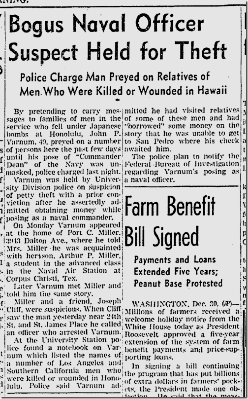 Dec. 31, 1941, Victim Fraud