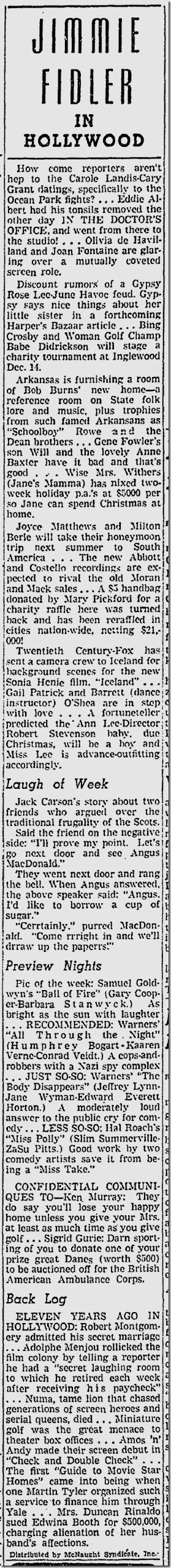 Dec. 6, 1941, Jimmie Fidler