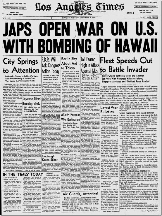 Dec. 8, 1941, Japs Open War on U.S.
