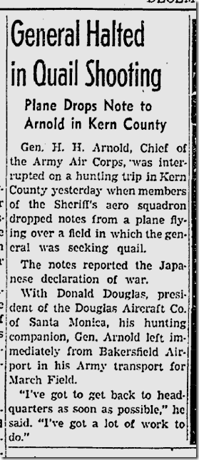 Dec. 8, 1941, Hap Arnold