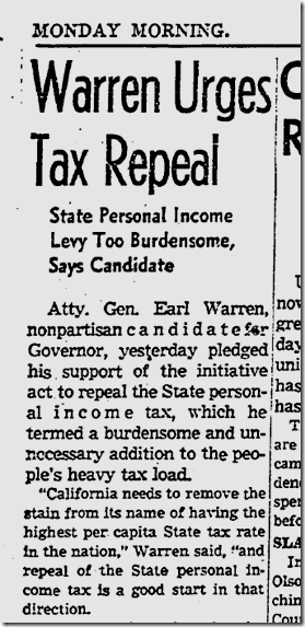Aug. 3, 1942, Earl Warren and Taxes
