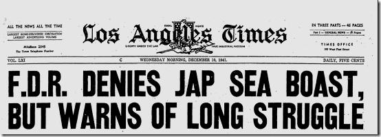 Dec. 10, 1941, FDR Warns of Long Struggle