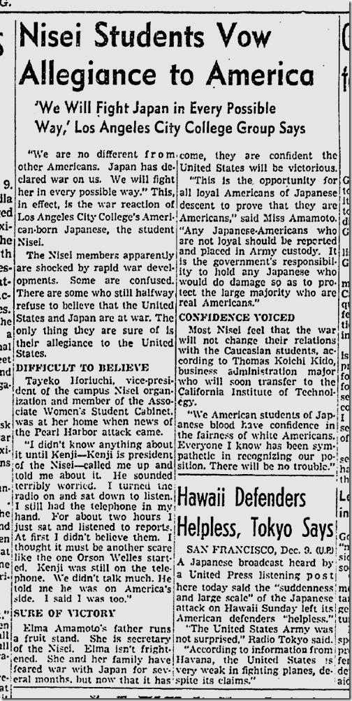 Dec. 10, 1941, Nisei Students