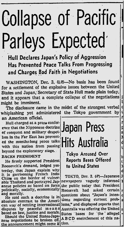 Dec. 4, 1941, Pacific talks