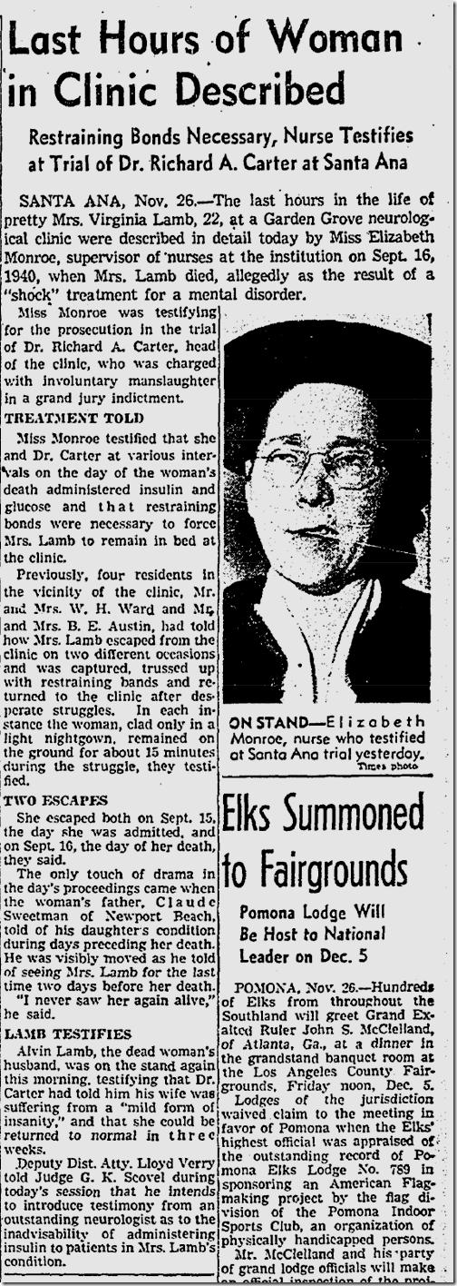 Nov. 27, 1941, insulin shock