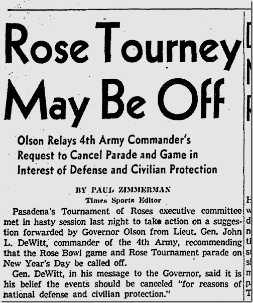 Dec. 14, 1941, Tournament of Roses