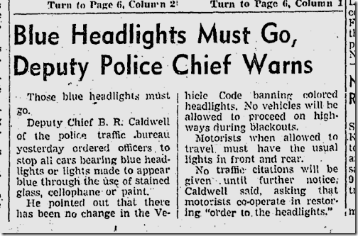Dec. 15, 1941, Headlights