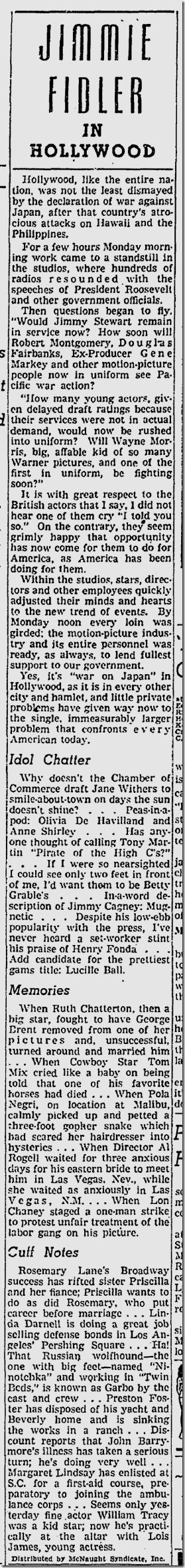 Dec. 10, 1941, Jimmie Fidler