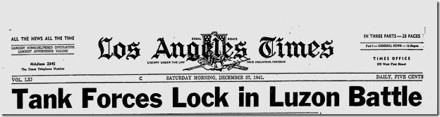 Dec. 27, 1941, Luzon Battle