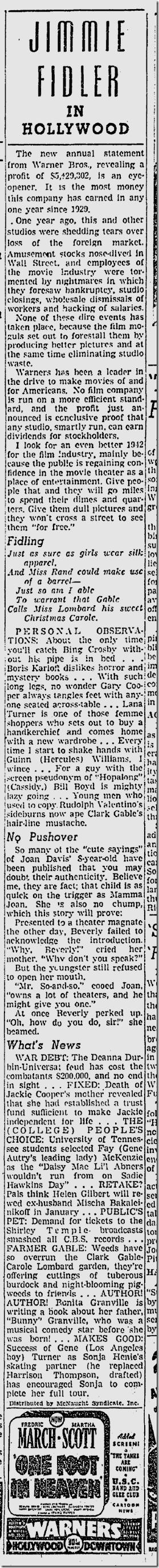 Dec. 8, 1941, Jimmie Fidler