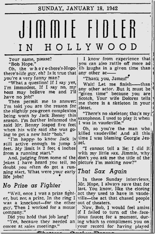 Jan. 18, 1942, Jimmie Fidler