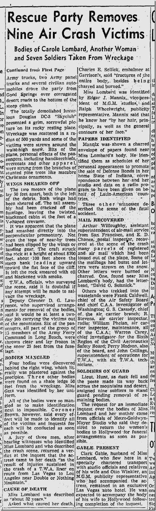 Jan. 19, 1942, Carole Lombard