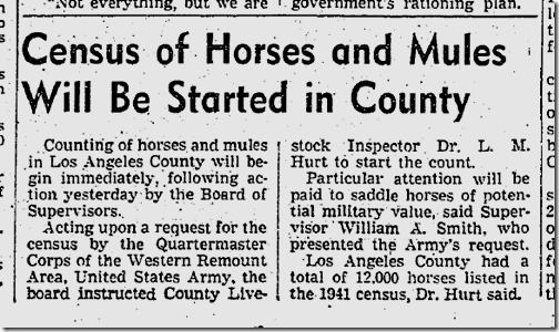 Jan. 22, 1942, Equine Census