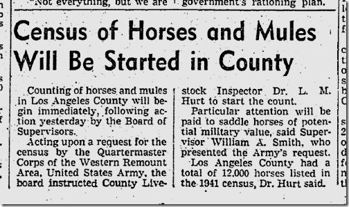 Jan. 22, 1942, Equine Census