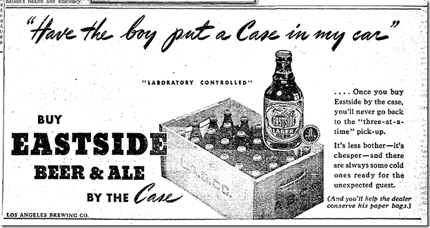 Jan. 22, 1942, Eastside Beer