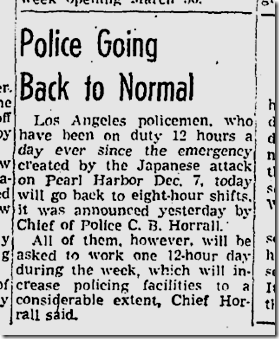 Jan. 4, 1942, LAPD shifts