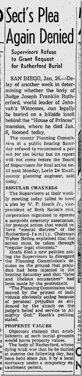 Jan. 27, 1942, Jehovah's Witnesses Leader Dies