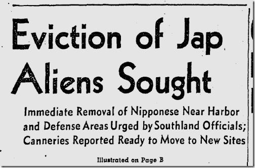 Jan. 29, 1942, Japanese Eviction