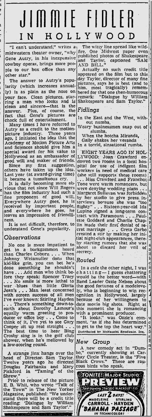Jan. 28, 1942, Jimmie Fidler