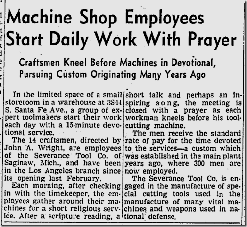 Jan. 4, 1942, Machine Shop Prayers