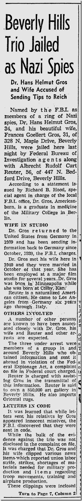 Jan. 29, 1942, Spy Ring