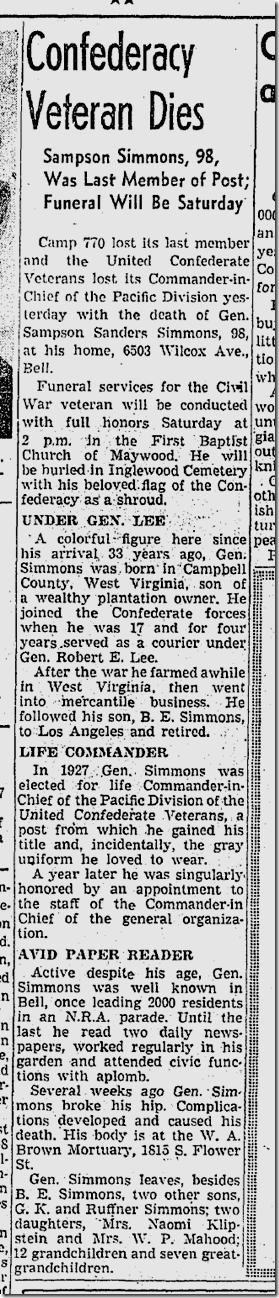 Jan. 29, 1942, Confederate Veteran Dies