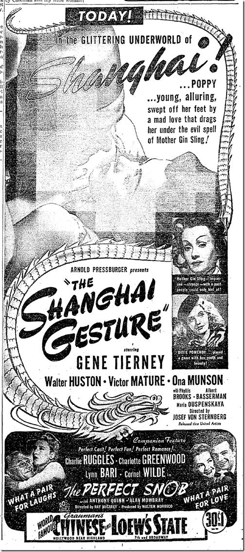 Jan. 29, 1942, Shanghai Gesture