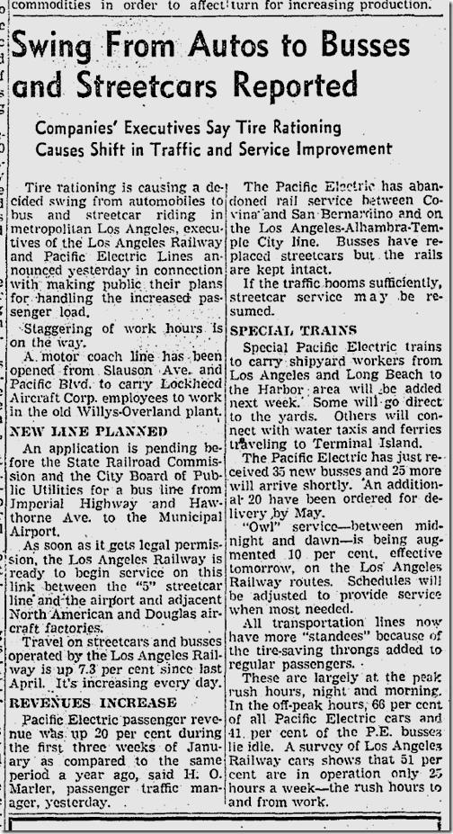 Jan. 31, 1942, Streetcars