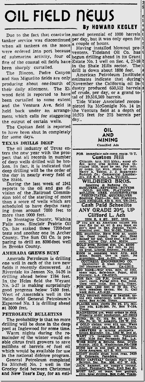 Jan. 5, 1942, Oil Field News