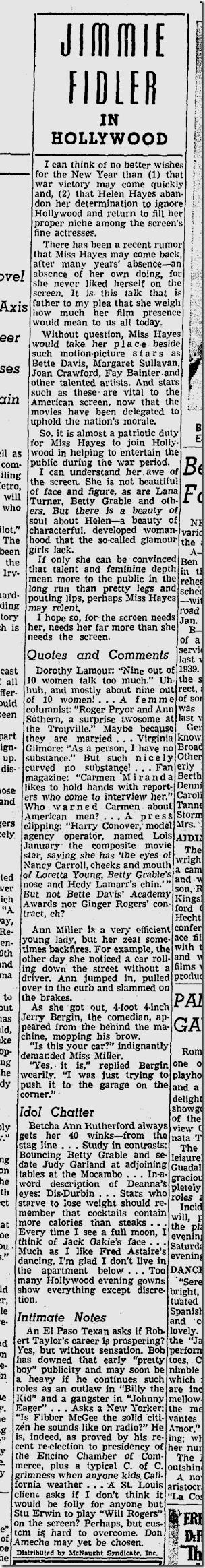 Jan. 5, 1942, Jimmie Fidler