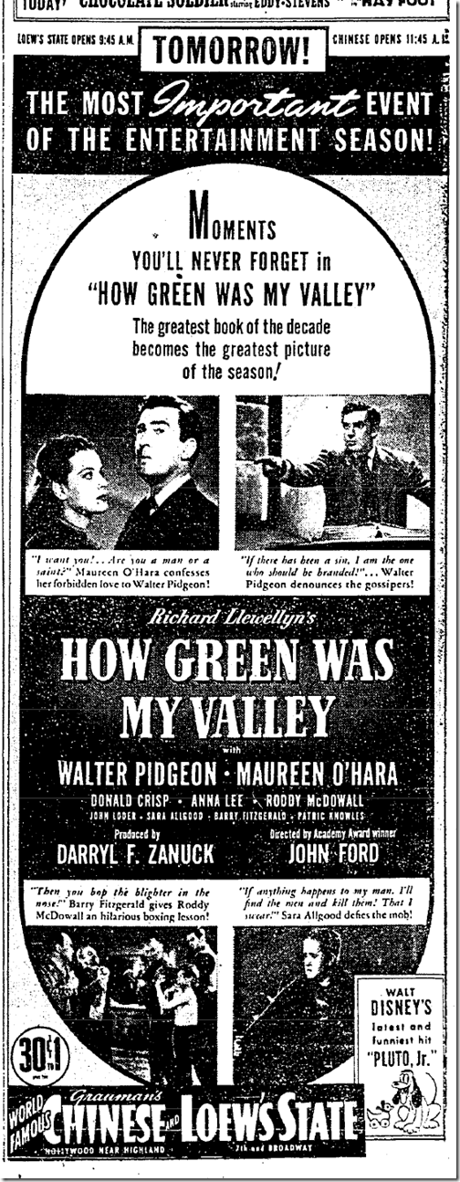 Jan. 7, 1942, How Green Was My Valley