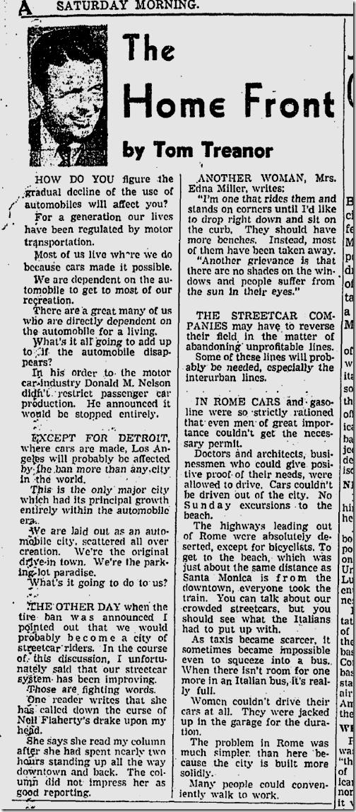 Jan. 3, 1942, Tom Treanor