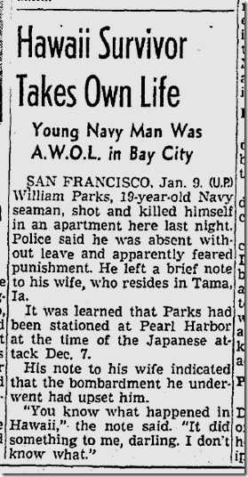 Jan. 10, 1942, Suicide