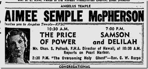 Jan. 10, 1942, Aimee Semple McPherson