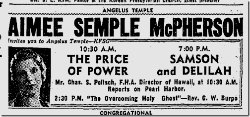 Jan. 10, 1942, Aimee Semple McPherson