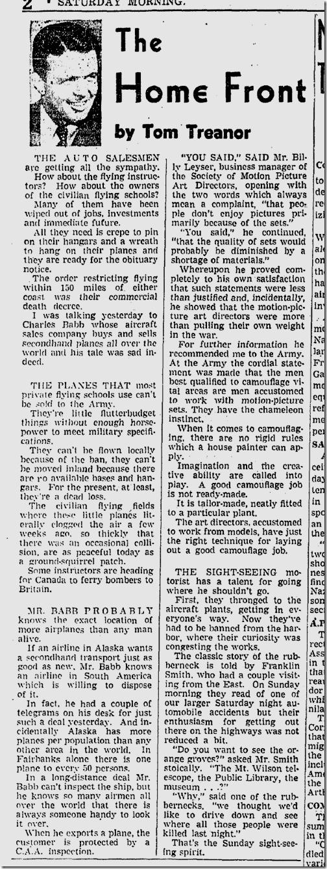 Jan. 10, 1942, Tom Treanor