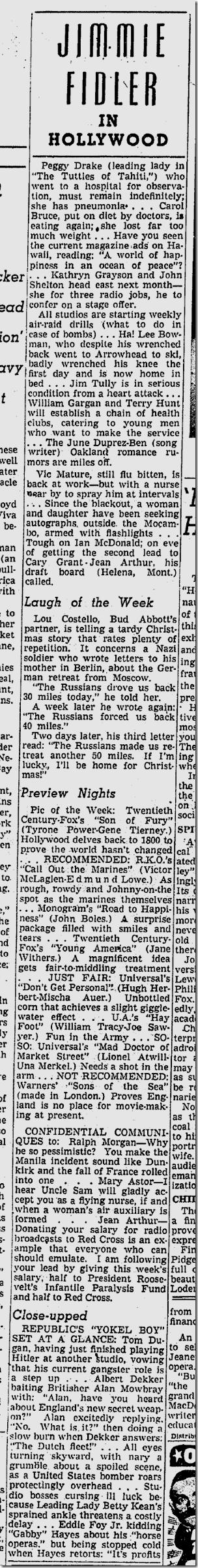 Jan. 10, 1942, Jimmie Fidler