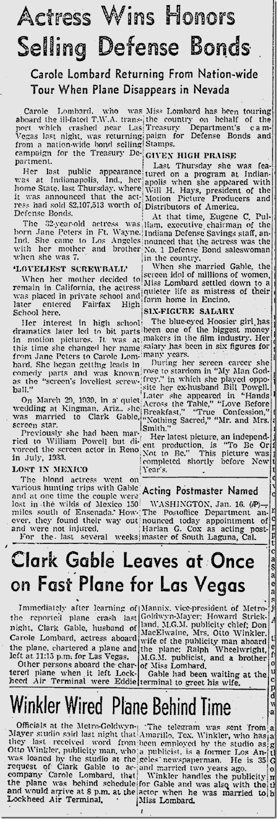 Jan. 17, 1942, Carole Lombard