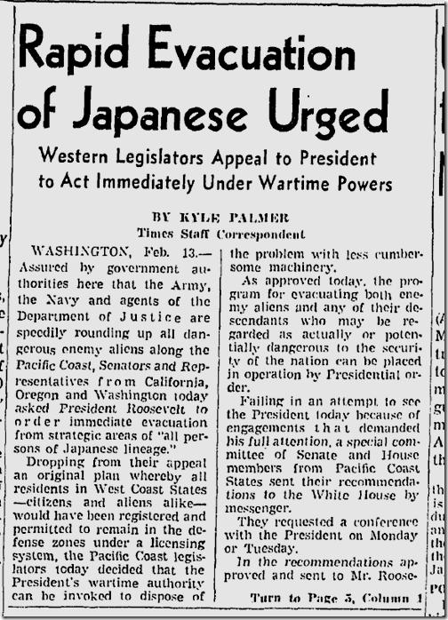 Feb. 14, 1942, Japanese Evacuation