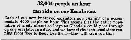 Nov. 11, 1923, Hamburger's escalators