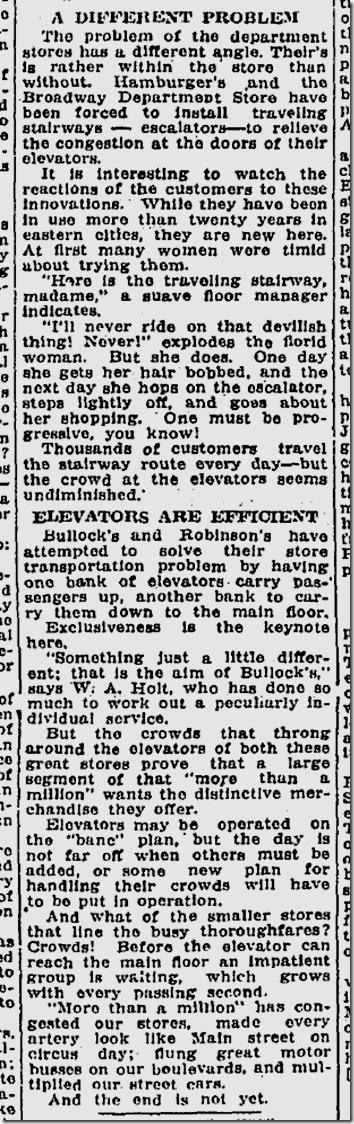 June 22, 1924, Escalators