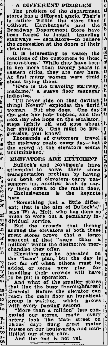 June 22, 1924, Escalators