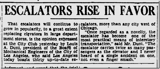 July 2, 1929, Escalators