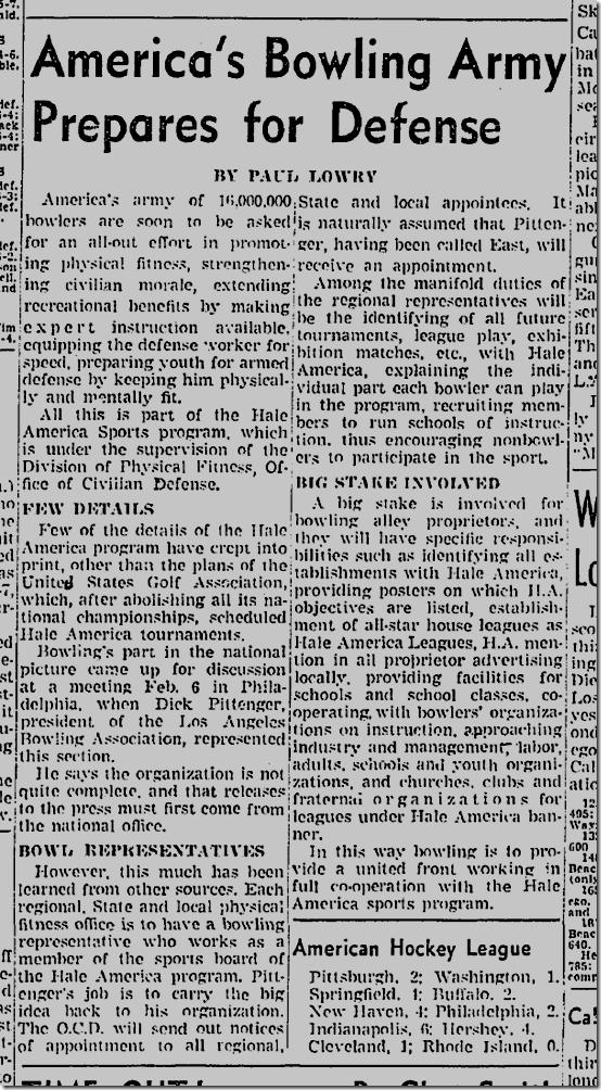 Feb. 15, 1942, Bowling